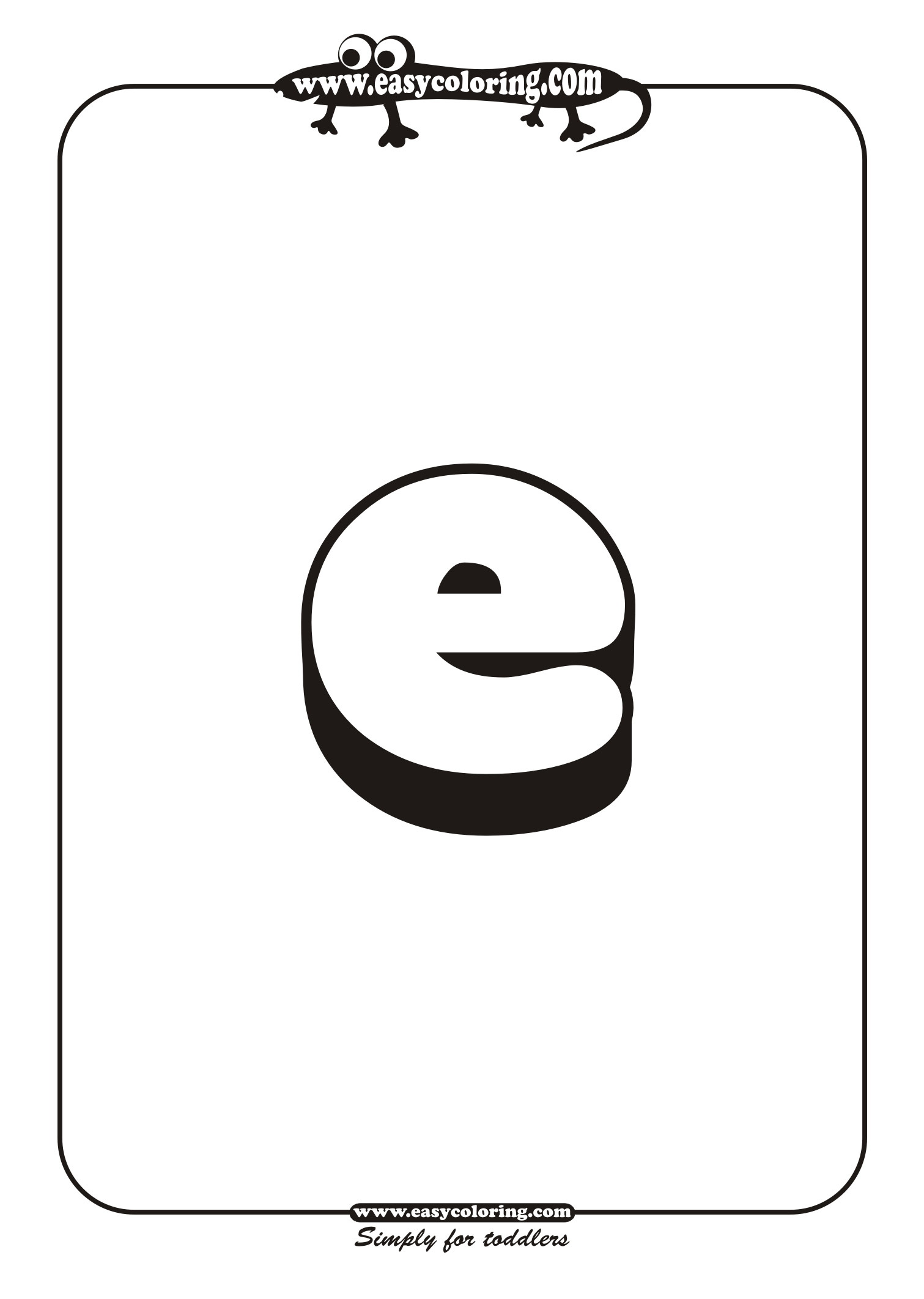 free coloring pages of large letter e