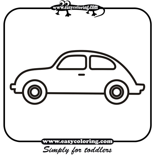 simple car coloring pages - car four simple cars easy coloring cars for toddlers