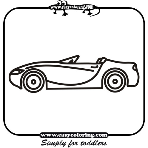 coloring sheets on car six simple cars easy coloring cars for toddlers - Simple Car Coloring Pages