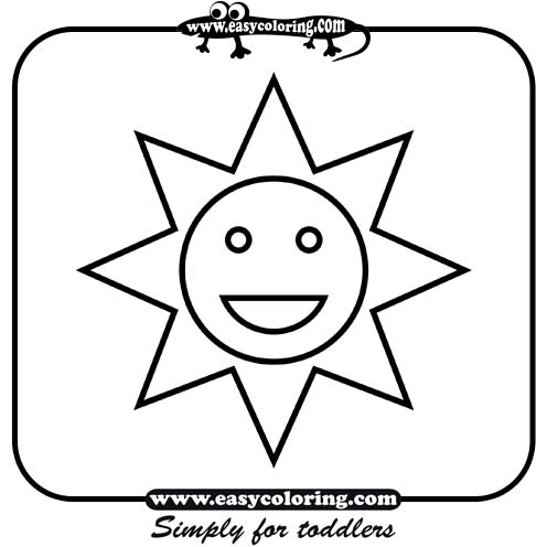 Sun simple shapes easy coloring pages for toddlers sketch for Simple coloring pages for toddlers